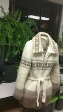 Vtg Icewool Icelandic Women's M Beige Brown Thick Wool Sweater Jacket Zipper
