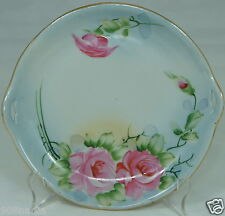 ANTIQUE PORCELAIN SMALL CAKE PLATE,NIPPON,HAND PAINTED ROSES,CUT OUT HANDLES