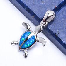 NEW Blue Australian Opal Turtle' .925 Sterling Silver Pendant