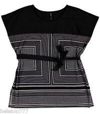 Women Plus 26 Chic Black White Geometric Soft Silky Stretch Tunic Top Belt