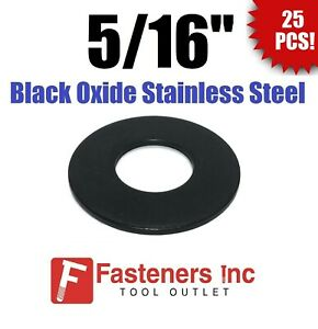 """(Qty 25) 5/16"""" Black Oxide Stainless Steel Flat Washer"""