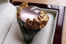 ART LARGE OVAL PINK ROSE QUARTZ YELLOW GOLD 925 SILVER DESIGNER RING SZ O 7.5