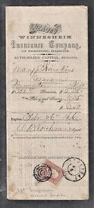 1866 Winnesheik Insurance Co Freeport Ill Insurance Document Cameronville (AUG13