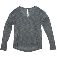 Lululemon Heathered Gray Long Sleeve Scoop Neck Athletic Yoga Run Top Womens 2