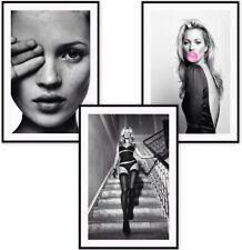 Kate Moss Print Fashion Art Black & White Art Wall Art Fashion Prints A4 Art