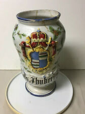 EARLY ANTIQUE HAND PAINTED POTTERY FAIENCE APOTHECARY MEDICINE JAR COAT OF ARMS