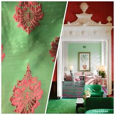NEW! Red And Green Brocade Damask Taffeta Interior Design Drapery Fabric