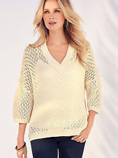 Kaleidoscope Size 14 16 18 Cream Very Oversized Pointelle Sweater TOP Jumper
