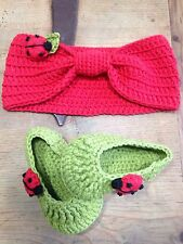 Patucos Y Turbante 0/3m Rojo Y Verde Zapato Patuco Bebe Algodón Recién Nacidos