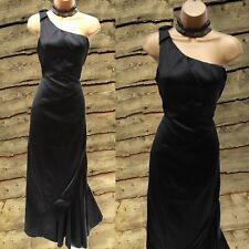 UK 12 Karen Millen Black Satin One Shoulder Wedding Party Prom Maxi Long Dress