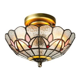 2-light Stained Glass Tiffany Style Ceiling Light Loft Flush Mount Lamp Fixture