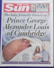 """The Sun Newspaper 25/07/13 - """"Prince George Of Cambridge"""" Royal Birth Front Page"""