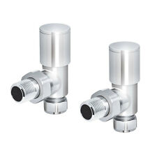 Deluxe Chrome Angled Heated Towel Rail Radiator Valves