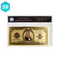 US 5 Dollar Colorful Gold Banknote 24k Gold Foil Bill Note with Plastic Case
