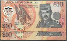 Brunei $ 10 polymer C13 885678 - 679 cons pair 1998 unc