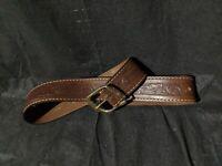 "Vintage Hickok Womens Leather Belt 32"" Brown Cowhide 8672 Flower Design"