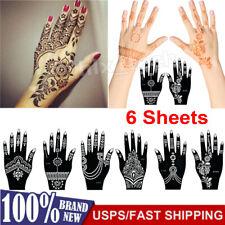 6Pcs Henna Stencil Hand Tattoo Body Art Sticker Template India Tattoo Stencil US