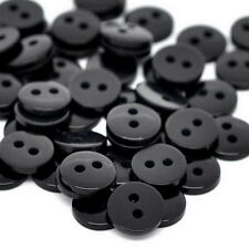 100PCs Black Round Resin Sewing Buttons Scrapbooking 9x2mm