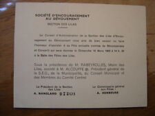 1962 Carton Invitation Societe Encouragement Devouement Les Lilas RABEYROLLES