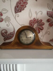Vintage Wood Mantel Wind Up Clock Napoleon Hat Perfect Working Order