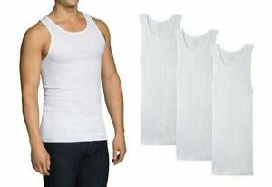Fruit Of The Loom Men's 100% Cotton White A-Shirts Sleeveless tank, 3 PK (S-3X)