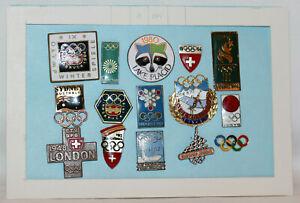 SWISS Olympic NOC 15x Badge & Pins London 1948 HELSINKI 1952 Tokyo 1964