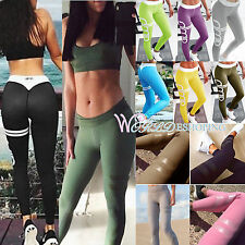 Women Yoga Fitness Leggings Sports GYM Bottoms High Waisted Pencil Pant Trousers