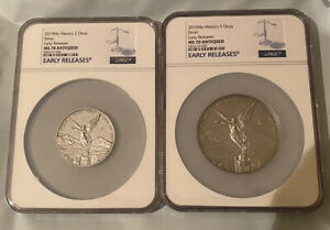 2019 ANTIQUE LIBERTAD México 2oz & 5oz Silver Bullion Coins NGC MS70~Low Mintage
