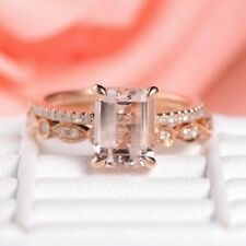 2.50Ct Emerald Cut Morganite Weeding Bridal Ring Set 14K Rose Gold Finish