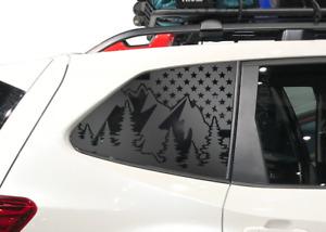 USA Flag w/ Mountains Decal Fits 2019-2020 Subaru Forester Side Windows - QB38