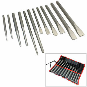 12PC COLD PUNCH & CHISELS SET + STORAGE ROLL CENTRE TAPER & PARALLEL PIN PUNCHES
