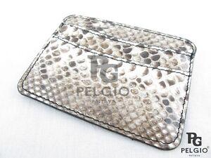 PELGIO Genuine Python Snake Skin Leather Slim Credit Card Holder Wallet Natural