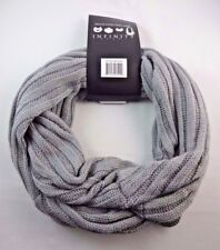 Gray Infinity Scarf Bulky Ribbed Knit Single or Double Loop Classic Style