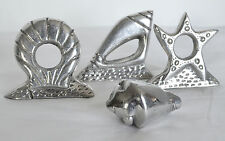 4 Surf Shell Cast Aluminium Napkin Rings Holders Nautical Starfish Clam Conch