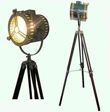 Nautical Search Spot Light Vintage Antique Style Floor Lamp W/Wood Tripod Item