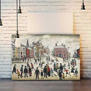 People Standing About CANVAS WALL ART PRINT ARTWORK PAINTING LS Lowry style