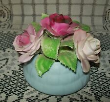 VINTAGE CHINA 'ROSES IN A POT' ORNAMENT Staffordshire England (*A/F*)