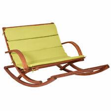 Patio Wood 2 Person Rocking Lounge Chair W/Green Cushion