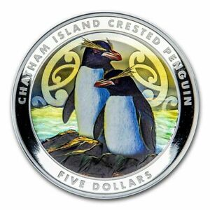 2020 New Zealand $5 Chatham Penguin Colorized 2 oz .999 Silver Coin - 750 Made