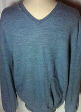 Banana Republic Blue Merino Wool V Neck Mens Sweater  XL