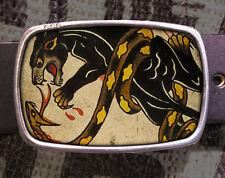 Panther Fight Tattoo Vintage Inspired Art Gift Snake Belt Buckle