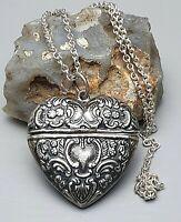 Jugendstil Silber Herz Pillendose-Anhänger 925 Silber & 835 Silberkette /A209