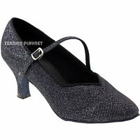 TPS Black Fabric Glitter Latin Ballroom Salsa Custom-made Dance Shoes D1012
