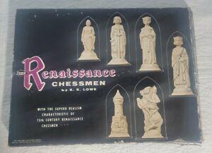 1959 Vtg Chess Set E.S Lowe Renaissance Chessmen Chess Board Game Original 832