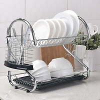 2-Tier Multi-function Stainless Steel Dish Drying Rack - Cup Drainer Strainer