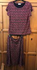 Talbot's RED & Black 2 piece Set Top & Skirt Size 14-16 Mosaic EUC
