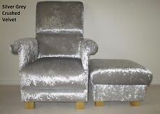 Silver Grey Crushed Velvet Adult Chair & Footstool Armchair Nursery Occasional