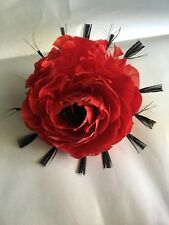 Handmade Steyer Germany Feather Rose Flower Pin Brooch Hat Trim RED w BLACK