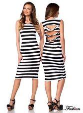 Gestreifte ärmellose knielange Damenkleider aus 100% Baumwolle