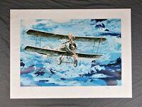 Vintage Wayland Moore Biplane Airplane Serigraph Print Limited Edition Numbered